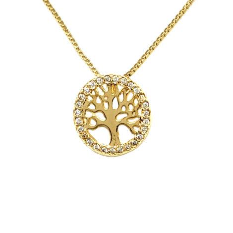 colar pingente arvore da vida cravejado com zirconia brilhante joia folheada ouro dourado 18k loja brilho folheados