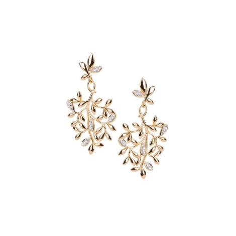 1689683 brinco medio folhas arvore da vida com zirconias folheado a ouro marca sabrina loja revendedora brilho folheados 1