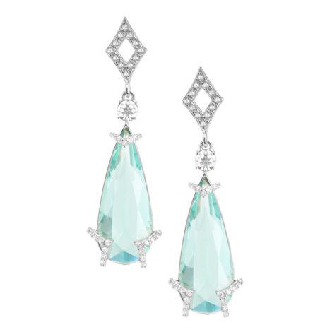 R1689716 brinco festa gota de cristal azul claro com losango vazado na base detalhes cravejados zirconia branca joia folheada rodio brilho folheados sabrina joias