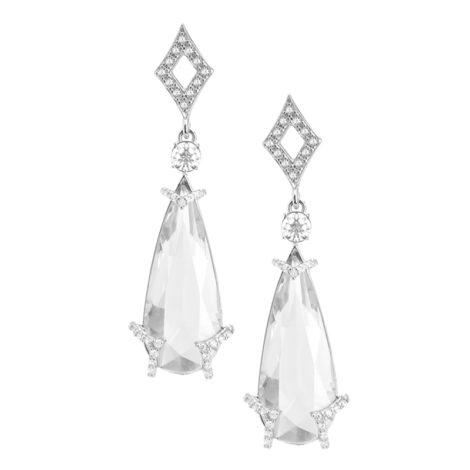 R1689716 brinco festa gota de cristal incolor com losango vazado na base detalhes cravejados zirconia branca joia folheada rodio brilho folheados sabrina joias