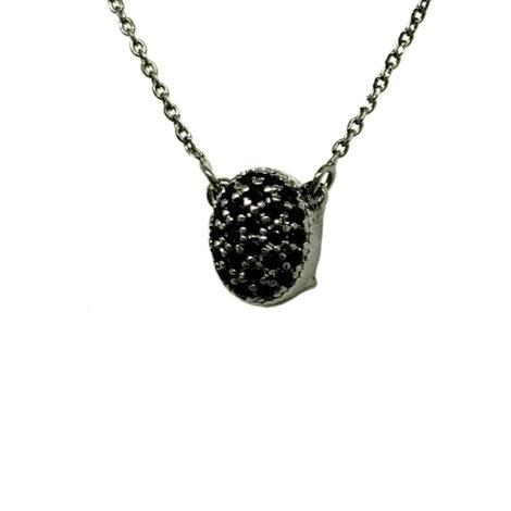 1900359 colar corrente elos com pingente 2 em 1 foto do lado em que o pingente esta cravejado zirconia preta marca sabrina joias loja brilho folheados
