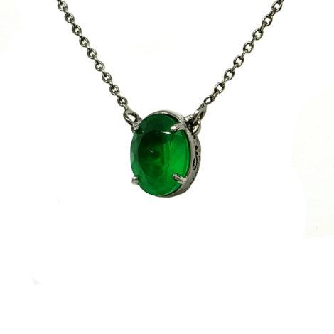 1900359 colar corrente elos com pingente 2 em 1 um lado pingente cristal verde esmeralda outro lado pingente cravejado zirconia preta marca sabrina joias loja brilho folheados