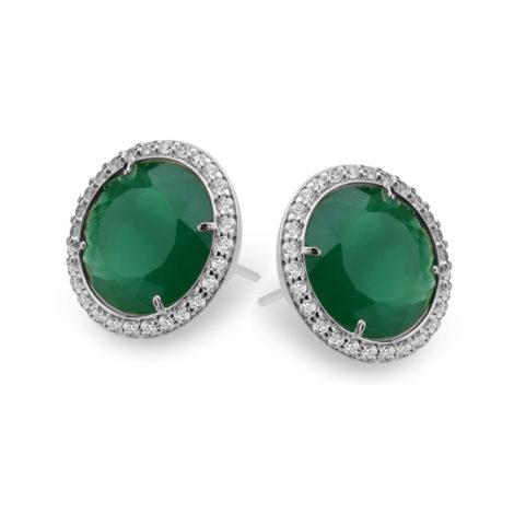 R1690065 brinco solitario grande com pedra de cristal verde com zirconia branca folheado a rodio cor prata sabrina joias brilho folheados