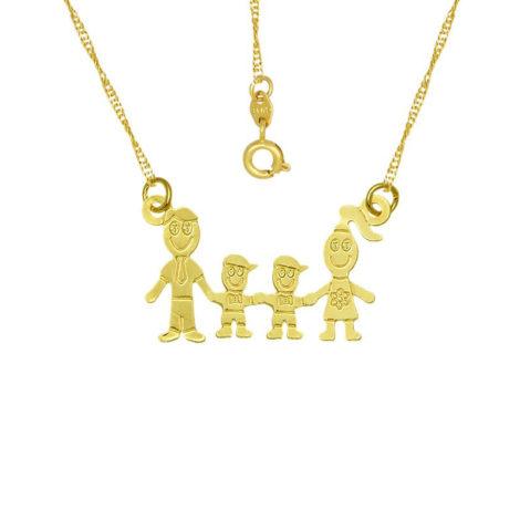 colar familia pai mae 2 filhos meninos joia folheada ouro 18k brilho folheados