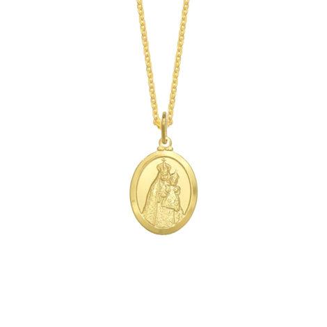 colar nossa senhora da penha corrente veneziana feminina com medalha oval folheado a ouro 18k brilho folheados