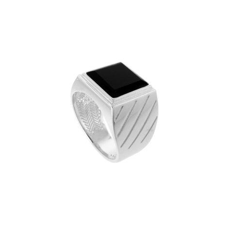 AB1710 anel masculino pedra preta joia folheada rodio ouro branco cor prateado bruna semijoias brilho folheados