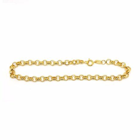 142e18 pulseira elos portugues unissex 18 cm comprimento semijoia joia folheada ouro brilho folheados sabrina joias