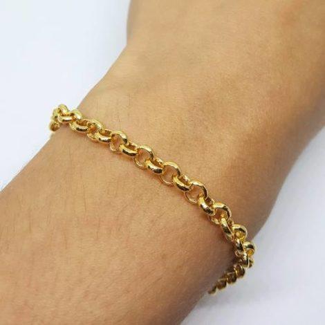142e18 pulseira elos portuguess 18 cm comprimento semijoia brilho folheados sabrina joias