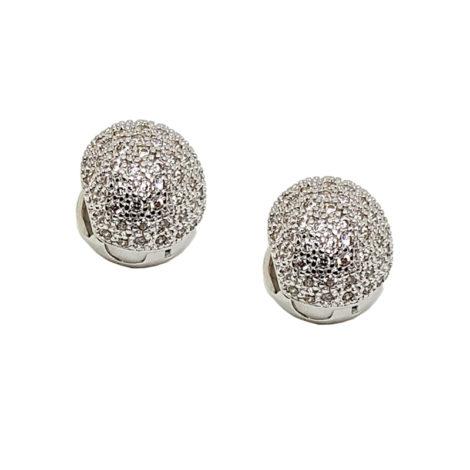R1689217 brinco bola grande bipartida cravejada com zirconias brancas joia folheada ouro branco sabrina joias brilho folheados