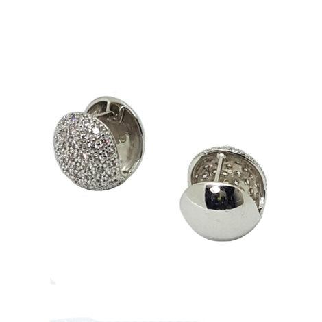 R1689217 brinco bola grande prateado com zirconias brilho folheados