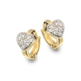 1676500 brinco argola pequena bipartida com coracao cravejado de zirconias sabrina joias brilho folheados