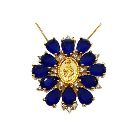 colar medalha mini nossa senhora das graças com cristais azuis brilho folheados