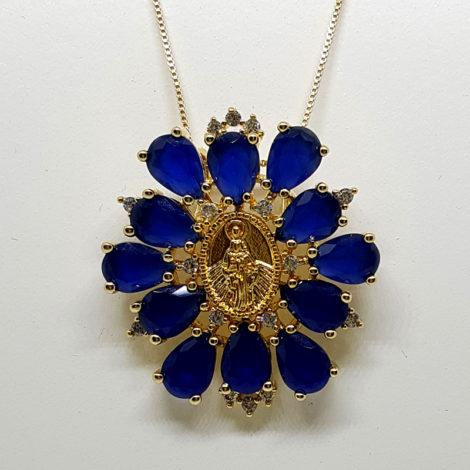 colar semijoia religiosa cristais azuis brilho folheados