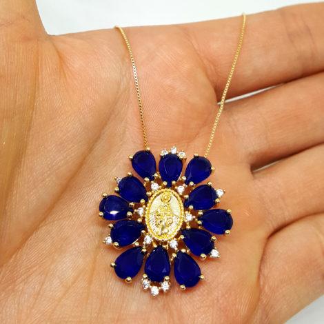 foto colar nossa senhora das gracas criastais azuis brilho folheados