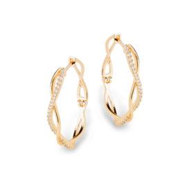 1689840 brinco argola oval media trancada com zirconias brancas joia folheada ouro 18k sabrina joias brilho folheados