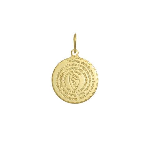 medalha pingente oracao ave maria oracao santa banhado ouro dourado joia folheada antialergica brilho folheados
