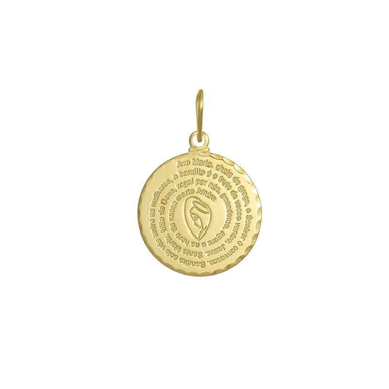 053743d4a4e48 Brilho Folheados - Pingente Medalha Oração Ave Maria com Santa
