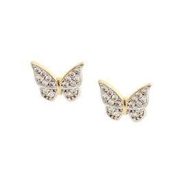 1689923 brinco borboleta mini cravejada com zirconias brilhantes brinco com tarracha baby joia antialergica folheada ouro 18k marca sabrina joias loja brilho folheados