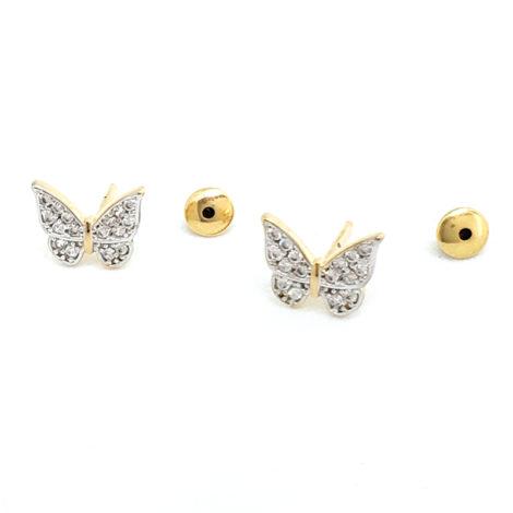 1689923 brinco borboleta mini cravejada com zirconias brilhantes brinco com tarraxa baby joia antialergica folheada ouro 18k marca sabrina joias loja brilho folheados
