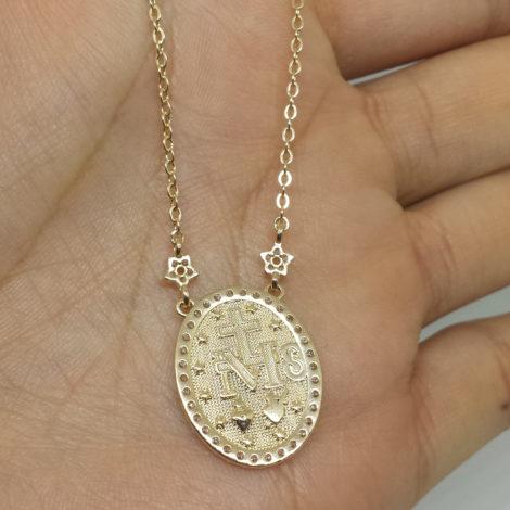 1900263 colar com medalha nossa senhora das gracas brilho folheados sabrina joias
