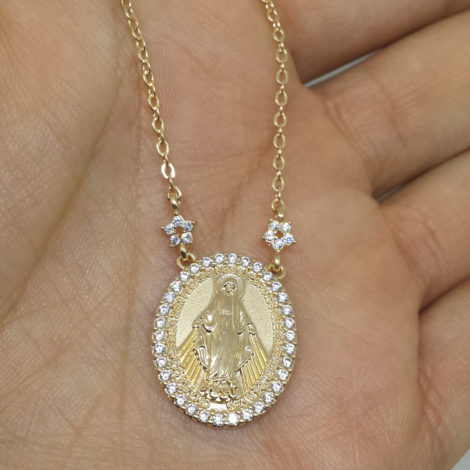 1900263 colar medalha nossa senhora das gracas cravejada brilho folheados