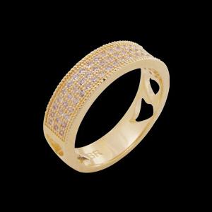 anel 3 fileiras micro zirconia folheado ouro 18k semijoia brilho folheados 1