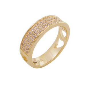 anel 3 fileiras micro zirconia folheado ouro 18k semijoia brilho folheados