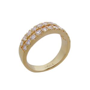 anel alianca 2 filetes zirconia swarovski folheado ouro 18k semijoia brilho folheados