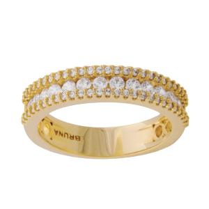 anel alianca 3 fileiras de zirconia banhado folheado ouro 18k brilho folheados semijoias 1