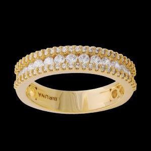 anel alianca 3 fileiras de zirconia banhado folheado ouro 18k brilho folheados semijoias