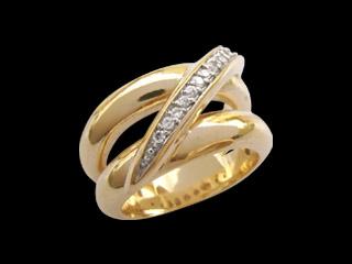anel duplo com fileira de zirconia folheado banhado ouro 18k semijoia brilho folheados 1