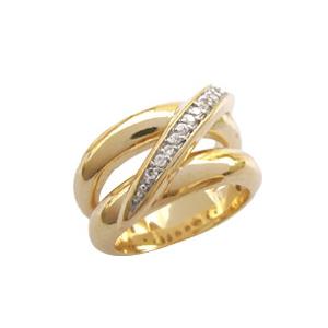 anel duplo com fileira de zirconia folheado banhado ouro 18k semijoia brilho folheados