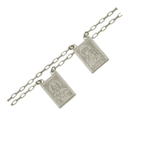 escapulário corrente elos cartier com medalha de nossa senhora do carmo e sagrado coracao de jesus com oracao no verso em prata brilho folheados
