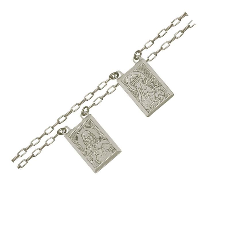 ff435c4bea0 Escapulário sagrado coração de Jesus e NSC prata pura Brilho Folheados