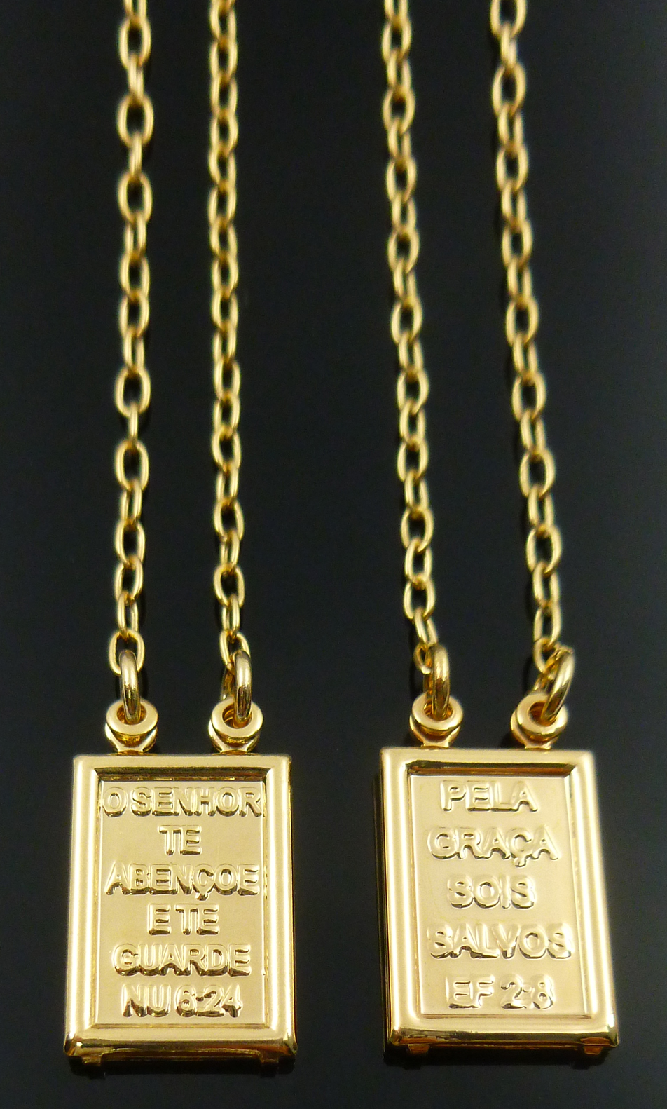 6301631321443 Brilho Folheados - Escapulário orações folheado a ouro 18k