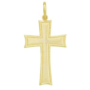 Pingente cruz crucifixo borda lisa centro picotado folheado banhado ouro 18k semijoia brilho folheados