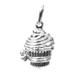Pingente cupcake duplo folheado banhado 3 camadas prata garantia 6 meses brilho folheados