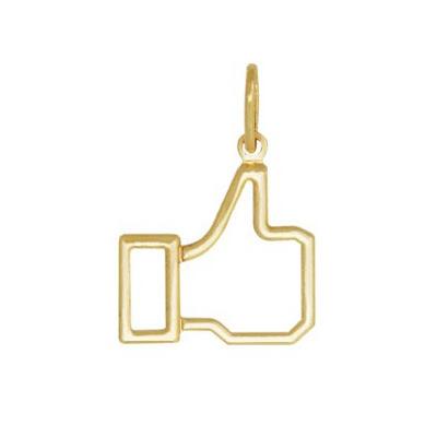 Pingente curtir facebook vazado folheado ouro 18k semijoia brilho folheados