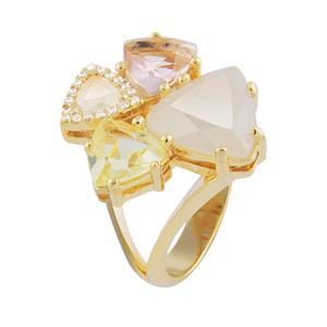 anel 4 pedras cristal coloridas zirconias swarovski semijoia bruna brilho folheados