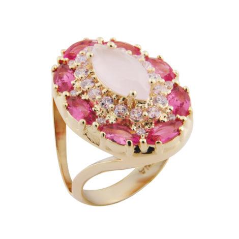 anel AB1595 cristais rosa brilho folheados bruna semijoias