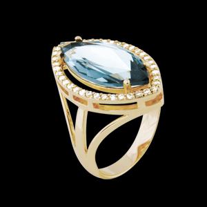 anel cristal navete azul zirconias lateral semijoia bruna brilho folheados 1