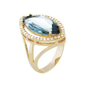 anel cristal navete azul zirconias lateral semijoia bruna brilho folheados