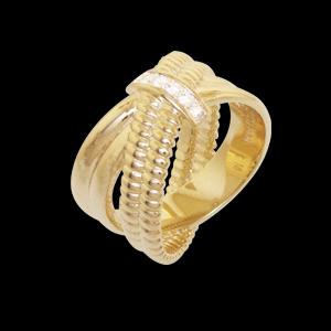 anel cruzado zirconias folheado banhado 3 camadas ouro 18k semijoia bruna brilho folheados 1