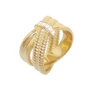 anel cruzado zirconias folheado banhado 3 camadas ouro 18k semijoia bruna brilho folheados
