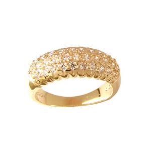 anel feminino abaulado pedras zirconia folheado banhado 3 camadas ouro 18k brilho folheados bruna semi joia