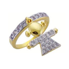 anel folheado banhado ouro 18k pingente menina crevejado zirconia swarovski semijoia sabrina brilho folheados