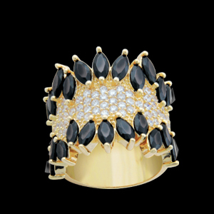 anel largo varias zirconias navetes negra semijoia bruna brilho folheados 1