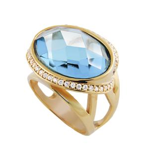 anel pedra cristal oval azul cintilante zirconias swarovski lateral semijoia bruna brilho folheados