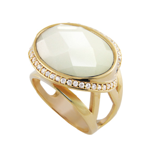 anel pedra cristal oval branca zirconias swarovski lateral folheado ouro 18k semijoia bruna brilho folheados
