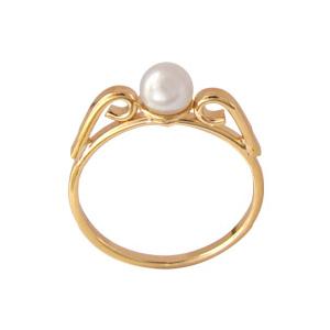 anel princesa infantil perola folheado banhado 3 camadas ouro 18k semijoia bruna brilho folheados
